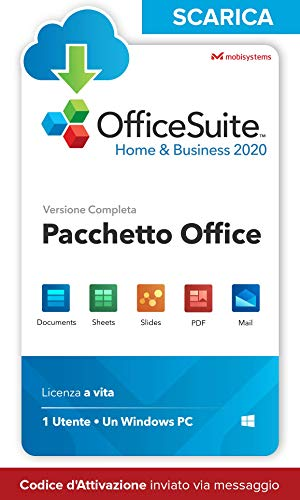OfficeSuite Home & Business 2020 – LICENZA DIGITALE – Compatibile con Microsoft® Office Word®, Excel® & PowerPoint® e Adobe® PDF for PC Windows 10, 8.1, 8, 7 (1PC/1User)