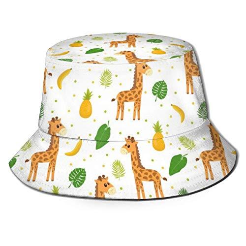 Limat Bright Rainbow Watercolor Giraffe Pattern Unisex Cute Bucket HatSombrero de Sol con Gorro de Pescador