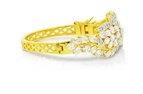 Montip Lynn Pulsera de oro amarillo de 22 K de 24 K para mujer, chapada en oro amarillo, para novia, con zafiro azul, 5 mm, 2 pulgadas blanco