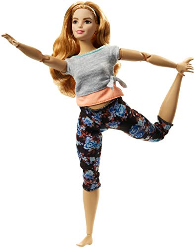 Barbie Fashionista Made to Move, Muñeca articulada curvy pelirroja con top gris (Mattel FTG84)