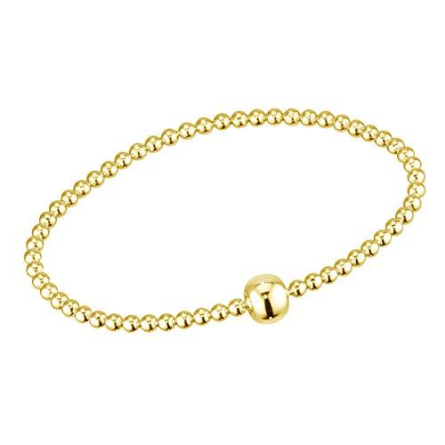MATERIA Perlenarmband Damen Gold - 925 Silber Stretcharmband Kugeln Goldarmband vergoldet Frauen in Etui 17-22mm SA-94