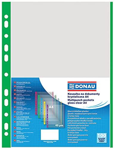 DONAU 1774100PL-06 Prospekthüllen Genarbt Grüner Rand Oben Offen Klarsichthüllen Sicht-Hüllen Gelochte Plastikhülle für Dokumente Papiere Akten Ordner/ PP Din A4, Transparent 40 mikron/ µm, 100stk.