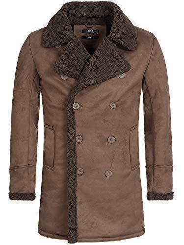 Indicode Herren Barlow Kurzmantel mit breitem Reverskragen und Teddyfell | kurzer Herrenmantel moderner Wintermantel Warmer Zweireiher modischer Mantel für Männer Demitasse XL
