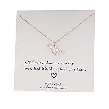 My Very Best Tiny Cute Dinosaur T- Rex Necklace Sweet Gift Necklace  Rose Gold Plated Brass