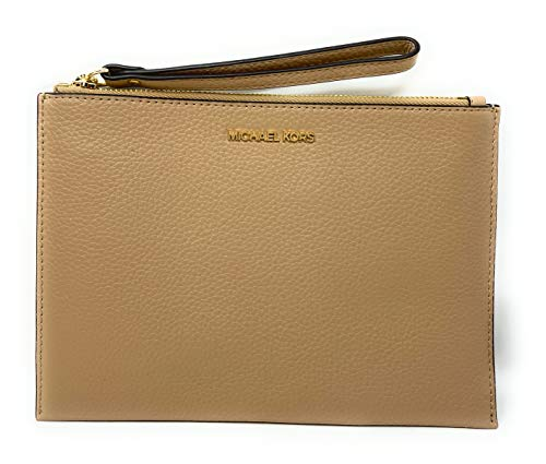 """Pebble leather with gold tone hardware. Approximate measurement: 9.5 (L) x 6.5 (H) with 6"""" wristlet drop Interior: 6 credit cards slots and 1 open pocket. top zipper closures. Michael Kors signature fabric lining."""