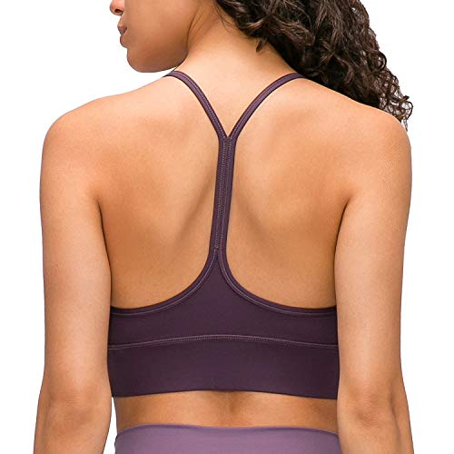 Lavento Y-Back Sports Bra for Women Naked Feeling Light Support Workout Yoga Tops (6, Eggplant)