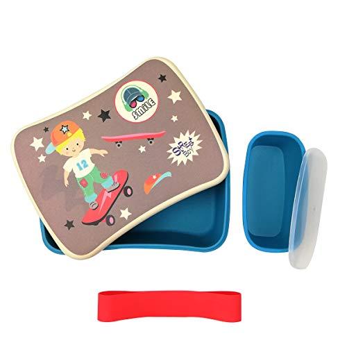 Various Fiambrera Infantil Colegio,Conjunto Sandwichera de bambú.Ideal para Infantil niños y bebé,Material ecológico sin BPA, Apto para lavavajilla-Partin