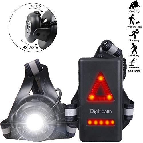 DigHealth Lauflicht, USB Wiederaufladbare LED Brustlampe mit Sicherheits-Rückwarnleuchte und Reflexstreifen, 90° Einstellbarer Abstrahlwinkel, Wasserdicht Sportlampe für Laufen Joggen Angeln Camping