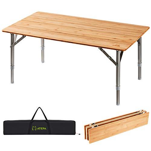 ATEPA Bamboo Klapptisch 4 Falten Tisch Mit 2 Verstellbaren Höhen Leichte Beine aus Aluminiumlegierung Anti UV Beschichtung mit Tragetasche für 2 bis 6 Personen Camping Garden