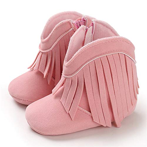 TIMATEGO Baby Girl Cowboy Tassel Boots Side Zipper Non Slip Stay On Booties Infant Toddler First Walker Warm Winter Crib Shoes 3-18 Months, Baby Girl Boots 6-12 Months Infant, 02 Pink