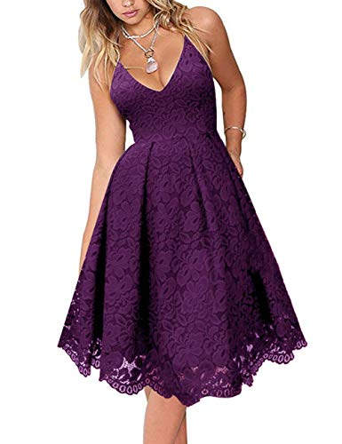 MEROKEETY Women's Lace Floral V Neck Spaghetti Straps Backless Cocktail A-Line Dress for Party Plum