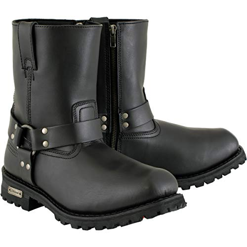 Xelement 1502 Men's Zipper Black Harness Motorcycle Boots - 9.5