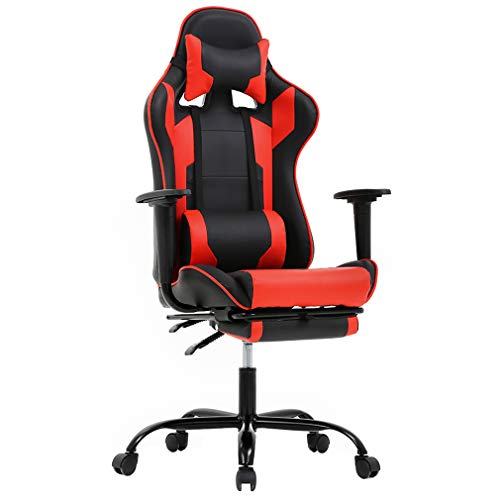 Office Chair Gaming Chair Ergonomic Swivel Chair High Back Racing Chair, with Footrest, Lumbar Support and Headrest chair gaming red