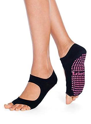 Tucketts Calcetines Yoga Pilates Antideslizante Deporte Mujer, Colchoneta deporte accesorios yoga, Calcetín dedos para Ballet, Barra Fitness, Danza, Running (Negro)