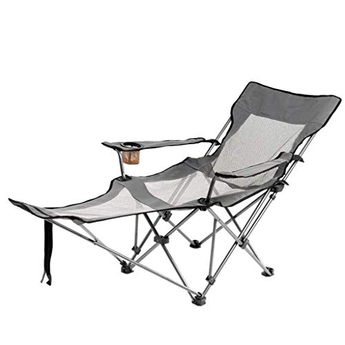 YLCJ Opvouwbare campingstoel, draagbare buitenstoelen met verstelbare compacte ligstoelen voor wandelen in de tuin, vissen op het strand Grijs