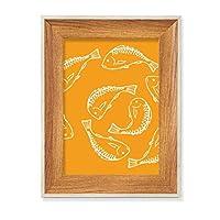 魚介類 デスクトップ木製フォトフレームディスプレイアート絵画セット