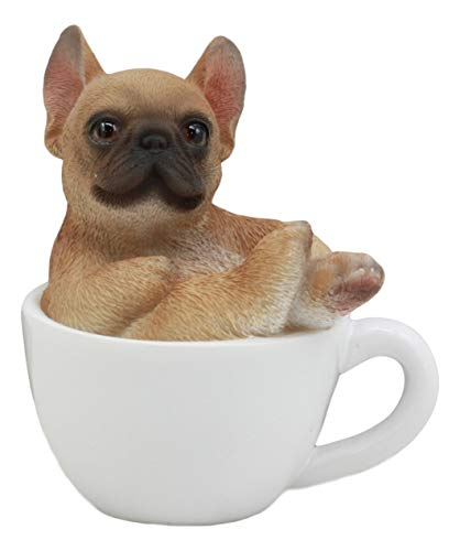 Ebros Realistic Mini French Bulldog Dog Teacup Statue 3' Tall Pet Pal Dog Breed Collectible Resin Decor Figurine with Glass Eyes