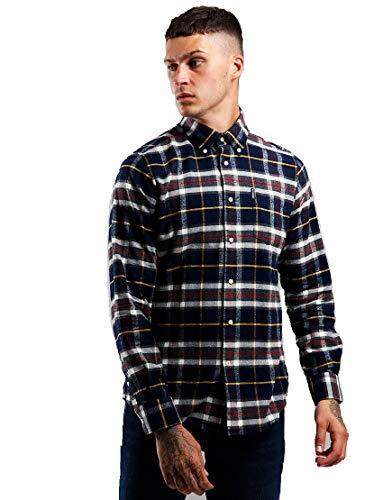 Barbour BACAM1788-MSH Highland Chek 13 Shirt Tail Hemd aus warmem Baumwollflanell 100% Regular Fit Herren Blau Tartan Check, Blau Medium