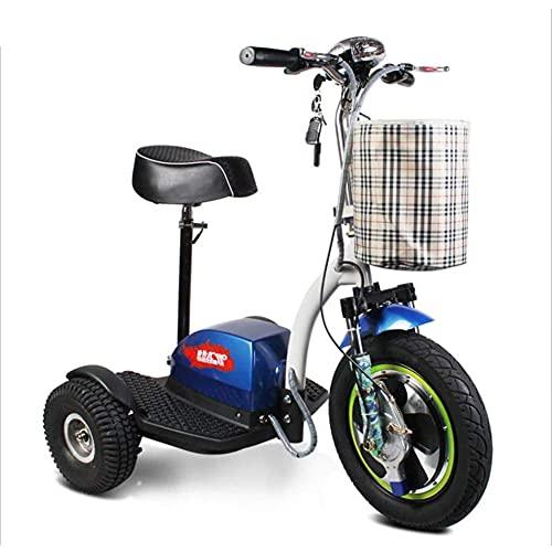 J&LILI Mini Triciclo Eléctrico Portátil Plegable para Adultos Mayores Al Aire Libre Ocio Scooter 48V12A Batería De Litio