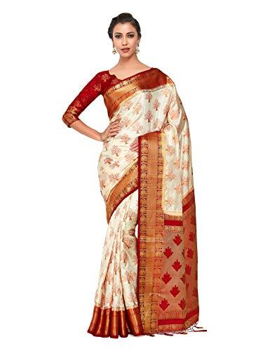 MIMOSA Women's Kanchipuram Silk Saree With Blouse Piece (4309-312-RD-HWT-RD_Beige)
