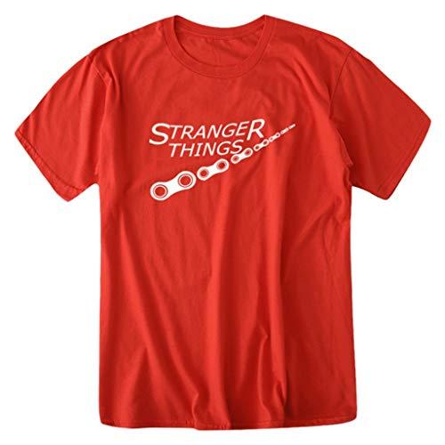 Tyoby Sommer-Straße Kurze Hülsen-T-Shirts T-Shirts Herren Mode Muster Kurzen Shirt Sport Fitness T-Shirt Rundhalsausschnitt Lässige Graphics Tees (rot,CN:XXL/EU:42)