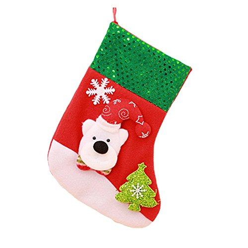 AprilElst Kerstmis snoepzakjes leuke glitter pailletten Kerstmis sokken gevormd doek cake cookies koekjes geschenken tassen voor kerstboom huis kinderen geschenken kerst tafeldecoratie 25 x 14 CM Groene beer