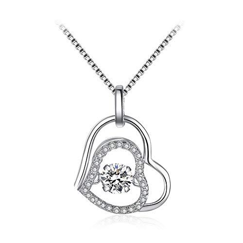 oshidede S925 Sterling Silber Halskette Damenmode Diamant Halskette Liebesherz