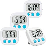 4 Pack Digital Kitchen Timer Big Digits Loud Alarm Magnetic Backing Stand ON/OFF Switch for Cooking Game Exercise Office White