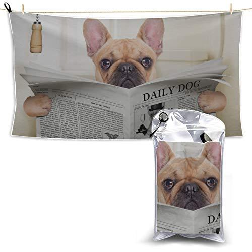 YUMOING Toilet Bulldog Watch Newspaper Bath Towel Quick Dry Sports Travel Towel Microfiber Towel for Women Sports Towel Men 27.5'' X 51''(70 X 130cm) Best for Gym Travel Camp Yoga Fitnes