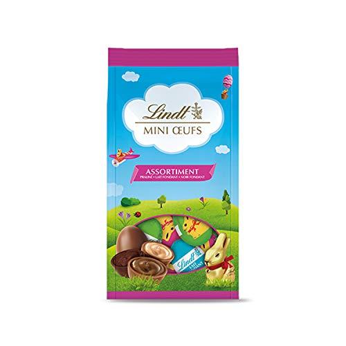 Lindt - Sachet Mini Œufs Assorti - Lapin Or - Assortiment de chocolat au lait, blanc et noir - Coeur fondant -180g – Lot de 6