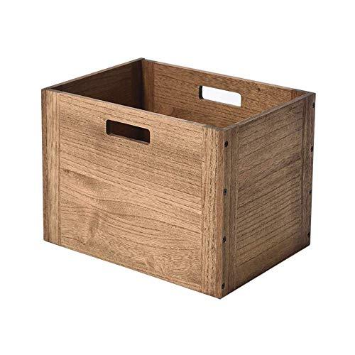 KIRIGEN cubo di legno organizzatore di stoccaggio in legno cestino di stoccaggio in legno per Home Books Clothes Toy Dark Brown
