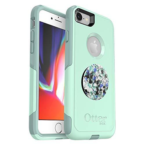 Bundle: OtterBox COMMUTER SERIES Case for iPhone 8/7 (NOT PLUS) - (OCEAN WAY) + PopSockets PopGrip - (SERPENTINE GRANITE)