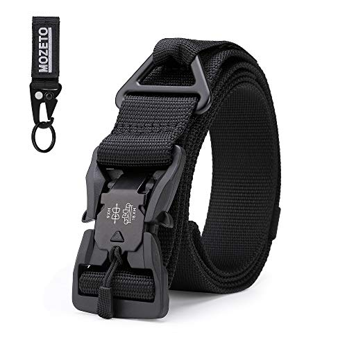 For Sale! MOZETO Tactical Belt, Military Nylon Rigger Webbing Waist Belt with V-Ring Magnetic Quick-...