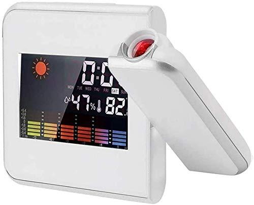 AJH Digital-Projektions-Wecker mit LED-Anzeige Wettervorhersage Innentemperaturen- Wetterstation 24-Stunden-Anzeige USB-Lade-