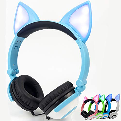 LIMSON Kinder Kopfhörer, Kabel Kopfhörer für Kinder, verstellbares Stirnband, Stereo Sound, Faltbare, 3,5 mm Aux Jack, Kinder Kopfhörer auf Ohr (blau)