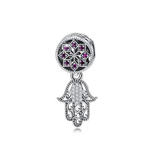 Mano de Fátima encanto encanto de plata de ley 925 Hamsa encanto aniversario encanto para pulsera Pandora (A)
