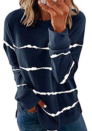 YMING Frauen Streifen Sweatshirts Lose Langarm Bluse Rundausschnitt Oberteil Navy Blau 3XL