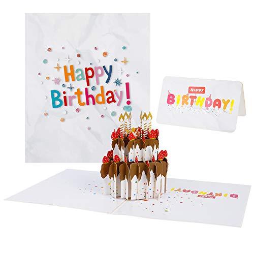Girls'love talk Geburtstagskarte 3D Pop up Grußkarte, 3D Pop Up Grußkarten Geburtstag, Happy Birthday-Karte, Kuchen Design, Kuchen Design, mit Umschlag und Kleine Karte