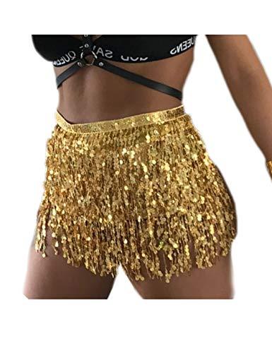 Frau Tanzt Hip - Schal Performance Pailletten Tassel Mini - Rock goldene One Size