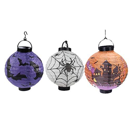 Bestyard 3 stuks Halloween-lantaarn van papier vleermuis spin slot LED lantaarn voor binnen of buiten party Halloween decoratie (paars wit + kleurrijk)
