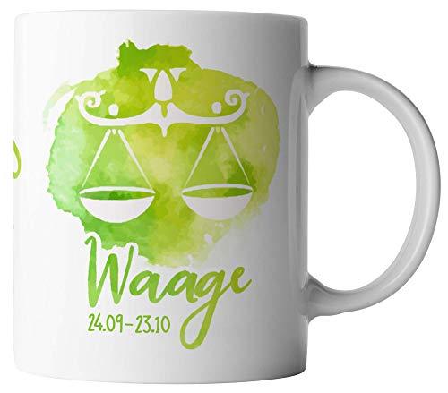 vanVerden Tasse - Horoskop Sternzeichen Waage 24.09. - 23.10. - beidseitig Bedruckt - Geschenk Idee Kaffeetassen, Tassenfarbe:Weiß
