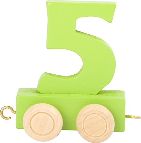 Buchstabenzug | Geburtstags Zahlen und Waggon mit Kerzenhalter | Holzeisenbahn | EbyReo® Namenszug aus Holz | personalisierbar | Geburtstag oder als Deko für den Geburtstagstisch (05 Zahl 5)