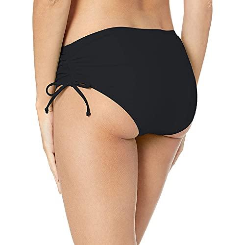 BIBOKAOKE Bikini para mujer con fruncido y cordones, cintura alta, pantalones cortos clásicos, pantalones cortos de baño, traje de baño de cintura alta, Negro8., M