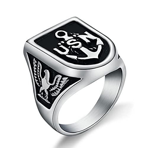 Anillo de ancla con símbolo de Vavy de EE. UU. Para hombre, anillos de oro de águila de acero inoxidable de titanio pesado fresco para hombre, regalo de joyería de plata 11