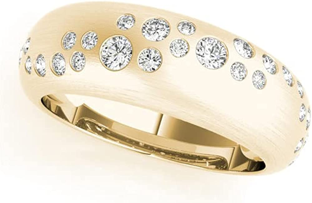Deluxe 0.50 Carat Total Weight Alternating Bezel Ro List price Wave Womens Natural