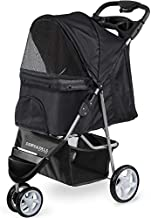 Paws & Pals Dog Stroller - Pet Strollers for Small Medium Dogs & Cats - 3 Wheeler Elite Jogger - Carriages Best for Cat & Large Puppy - Onyx Black