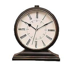 LUYIYI Large Living Room Clock/Retro Mute Classic Desktop Clock Study Bedroom Office TV Cabinet Decoration (Color : Roman Retro)