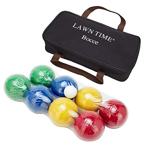 LAWN TIME 90mm Bocce Ball Set Includes 8 Recreational Plastic Balls, 1...