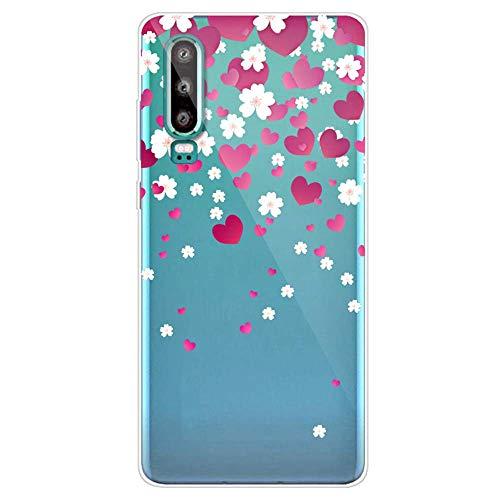 Uposao Coque pour Huawei P30,Étui Transparent Motif Jolie Cool Silicone Gel TPU Souple Ultra Slim Ultra Hybrid Case Bumper Anti Choc Housse de Protection pour Huawei P30,Coeur d'amour