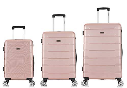 TORENTE COUTURE BTOR-SD-2005 - Maleta de viaje con ruedas giratorias, juego de 3 maletas rígidas, varios colores a elegir oro rosa SML
